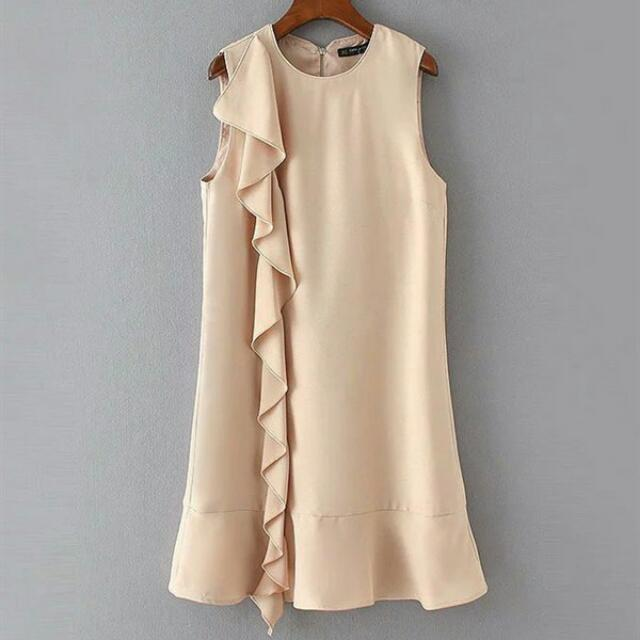 Nude Ruffle Dress