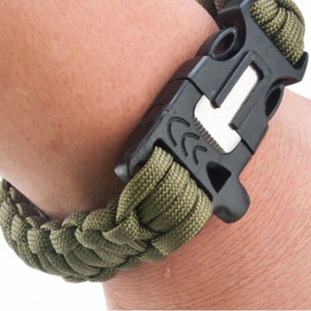 Outdoor Survival Bracelet Paracord Flint Fire Starter
