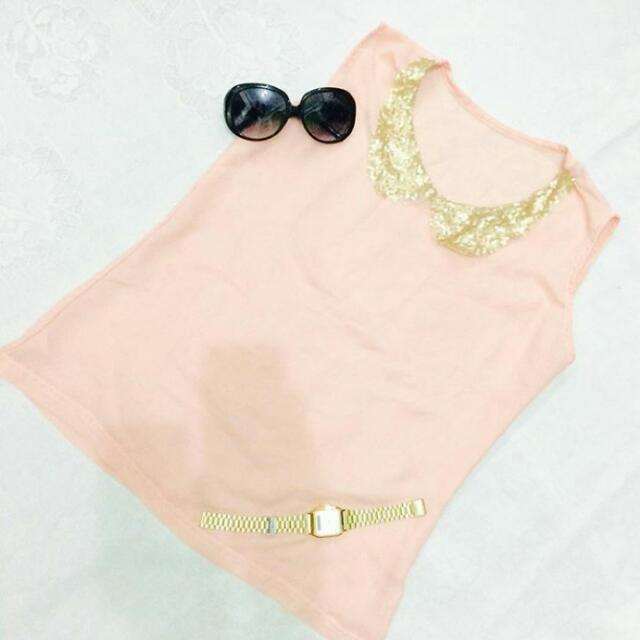 Peach Glittery Top / Small