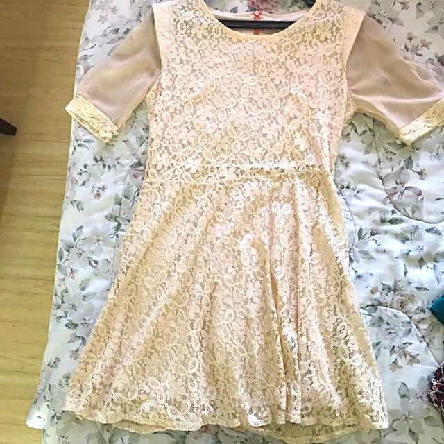 Peach Lacy Dress With Lining