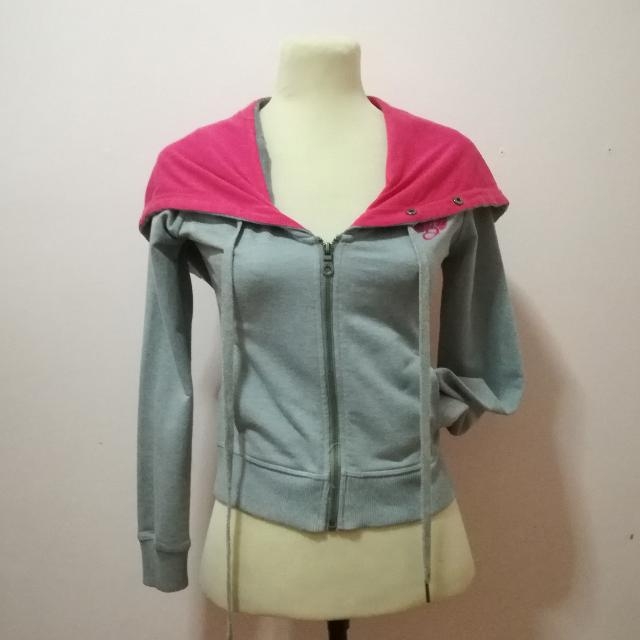 Pink And Gray Hoodie Jacket