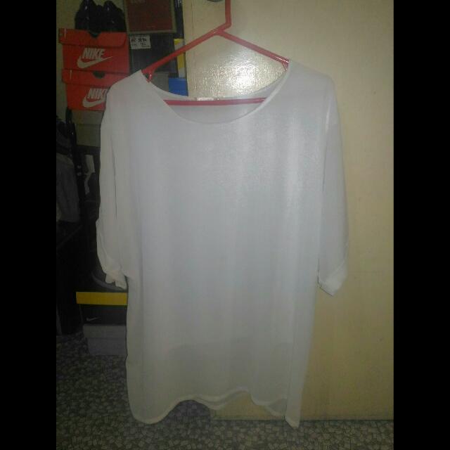Plus Size Korean White Top