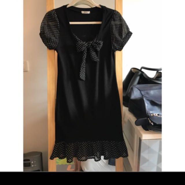 R.F 黑色拼接洋裝