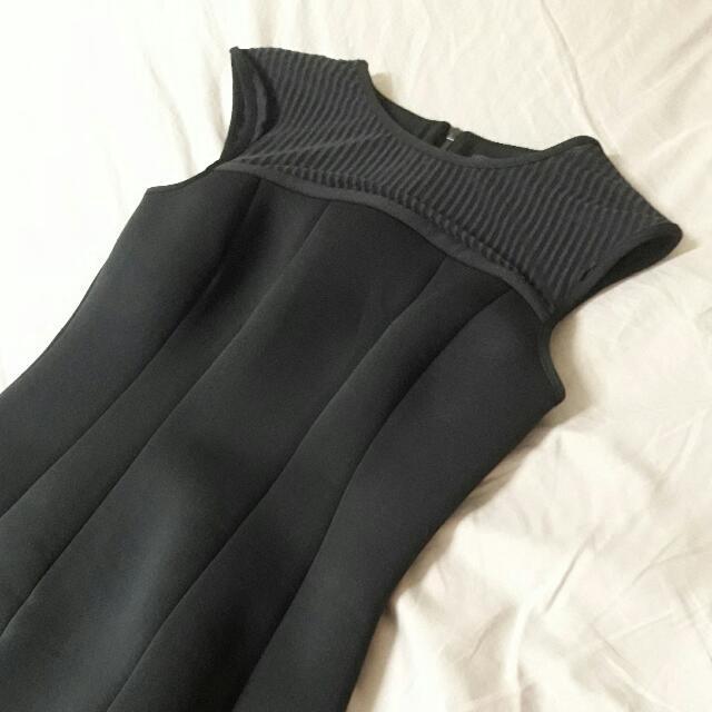 riverisland太空棉前胸透膚包臀黑洋裝classy black dress