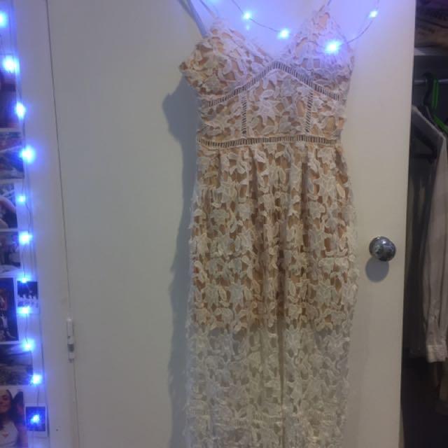 Showpo White Crochet Dress