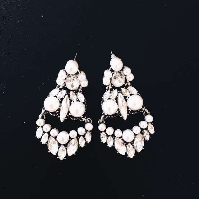 Silver Sparkles Diamon Earrings