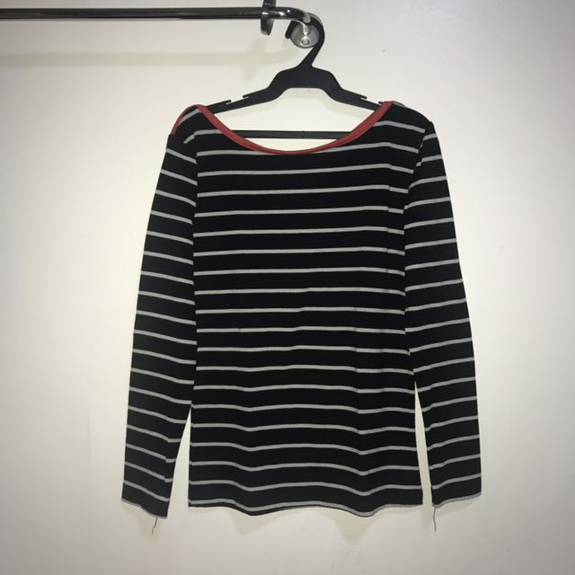 Striped Long Sleeves With Red Lining