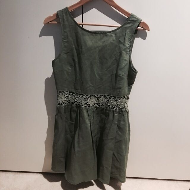 SUMMER DARK GREEN DRESS FESTIVAL WAIST CUT OUT CROCHET LACE