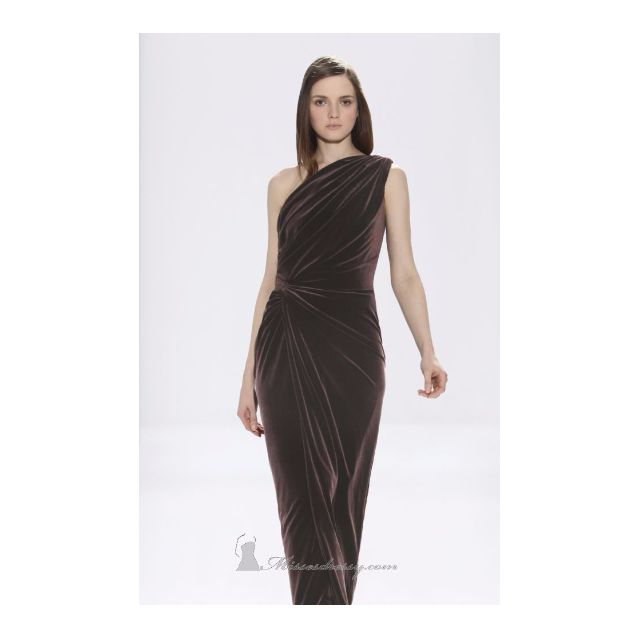 Tadashi Shoji Velvet Brown Gown/Dress Sz M