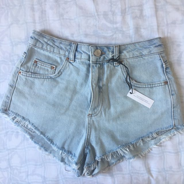 Topshop Denim High Waisted Shorts