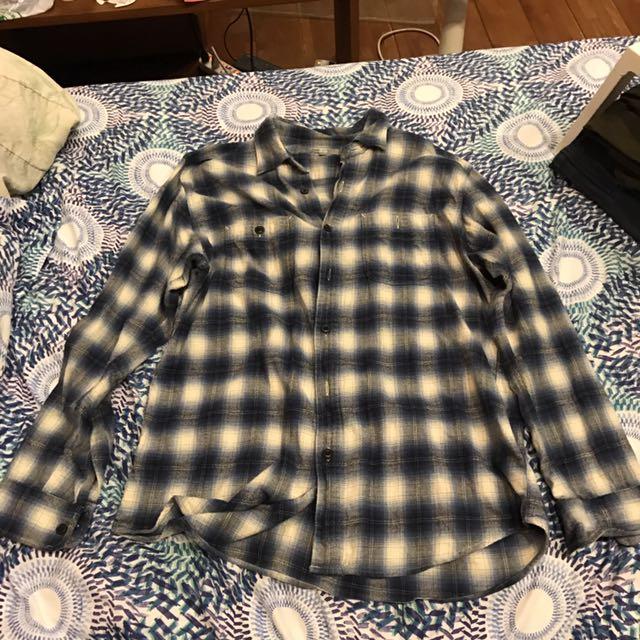 Uniqlo 藍灰格子襯衫XL