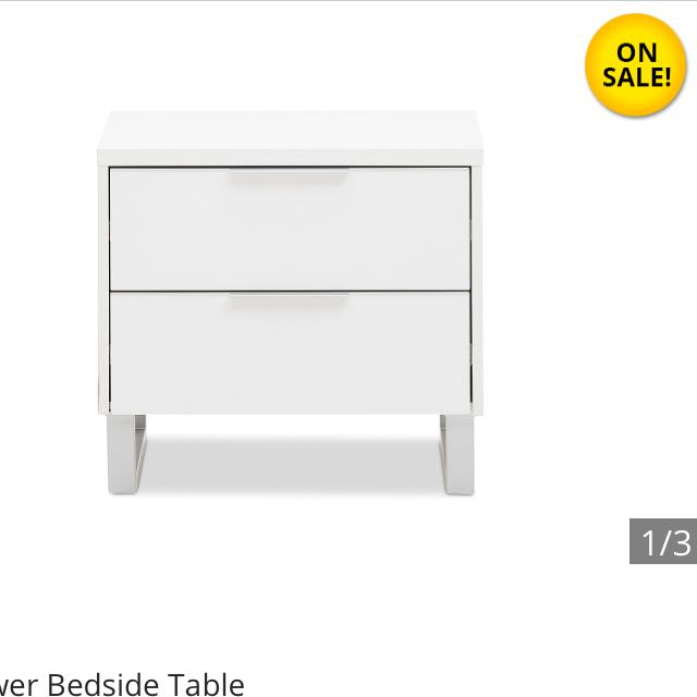 White 2 Drawer Bedside Table
