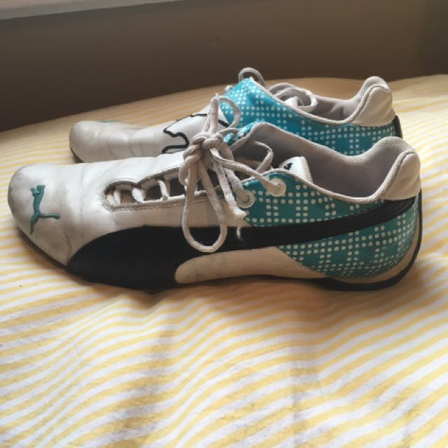 White and Teal Puma Shoes