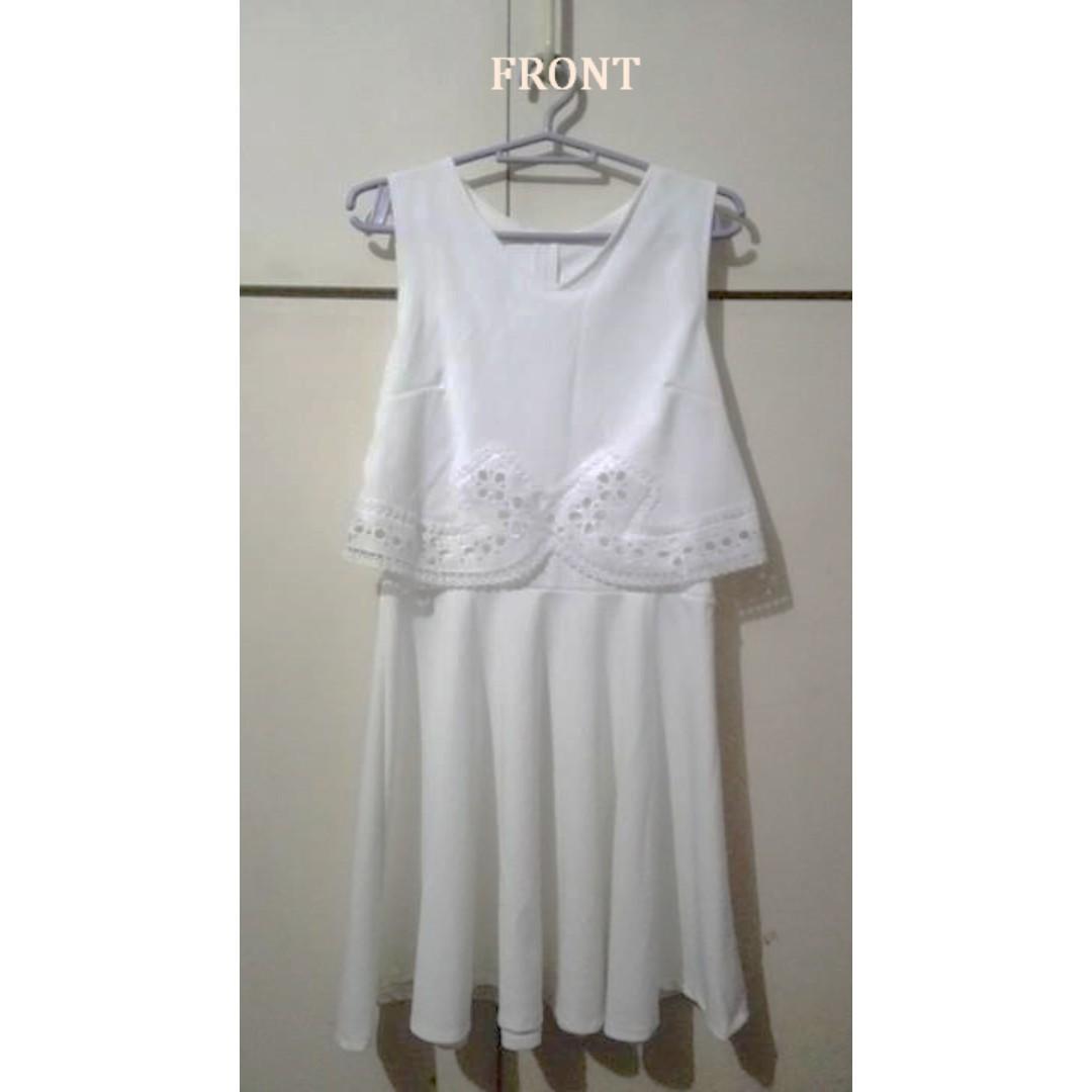 White Cotton Lace Semi-Formal Dress