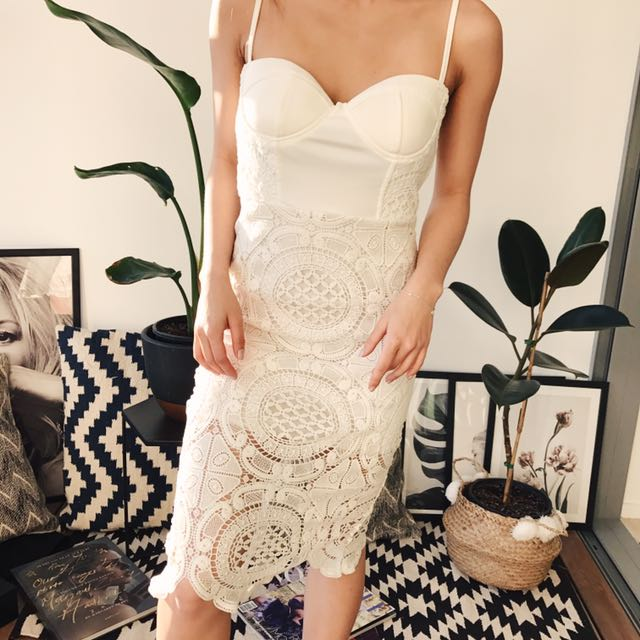 White Lace Detailed Dress Body on