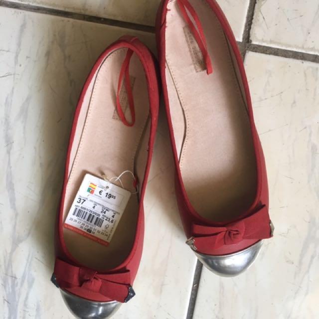 (含運)ZARA紅色蝴蝶結平底娃娃鞋