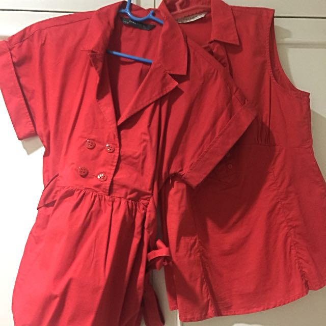 Zara Red Tops Size M - Set Of 2