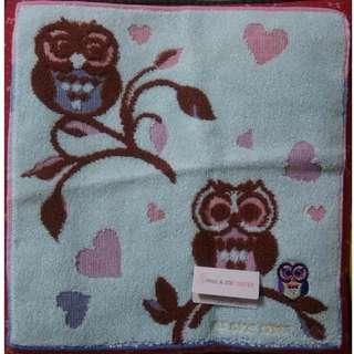 日本PAUL&JOE SISTER 貓頭鷹刺繡膠原蛋白小毛巾 小手帕