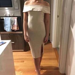Off Shoulder Nude Dress