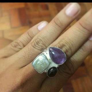 Amethyst, Onyx, Pearl 92.5 Sterling Silver Ring