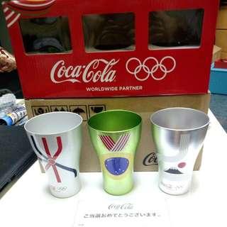 日本抽選品可口可樂奧運不鏽鋼紀念杯三隻
