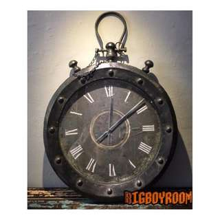 【BIgBoyRoom】工業風家具 鐵鍊碼錶造型時鐘掛鐘 vintage美式復古 Loft傢飾壁掛 居家裝飾咖啡廳飯店