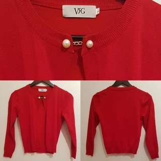 BN RED CARDIGAN w/ PEARL
