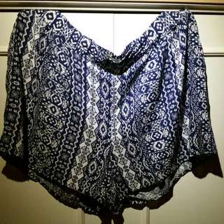 Blue And White Flowy Fabric Shorts