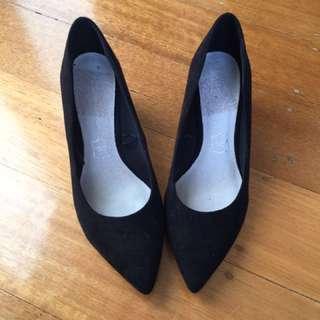 Black Work Heels Size 7 Suede Wedges