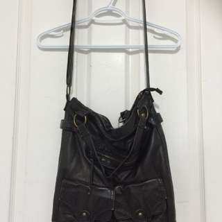 Black Faux Leather Side Bag