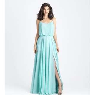 Blue Spaghetti Straps Elastic Waist Side Split Low Back Maxi Bohemian Chiffon Bridesmaid Dress - Custom Colour - LG002