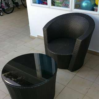 Outdoor Table & Chair c/w Glass Table Top