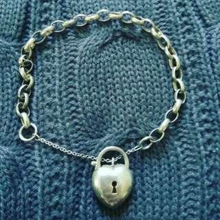 Sterling Silver Heart & Key Locket Bracelet