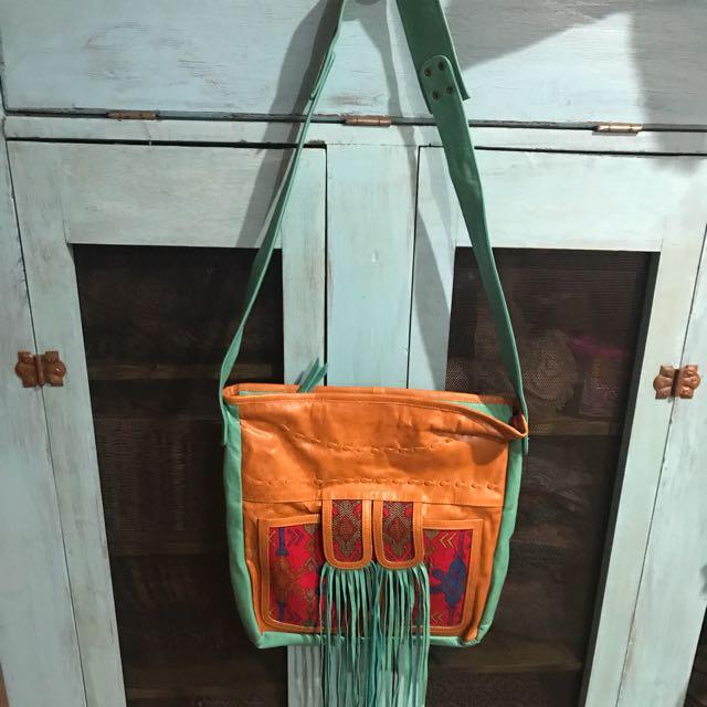 100% Real Leather Lokoa Style Handbag. Colourful