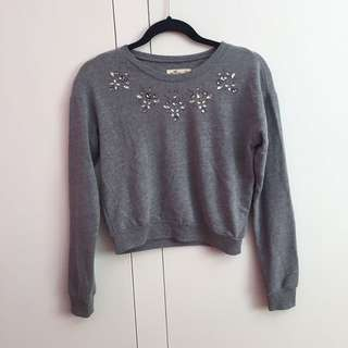 Hollister Grey Gem Embellishment Cropped Jumper