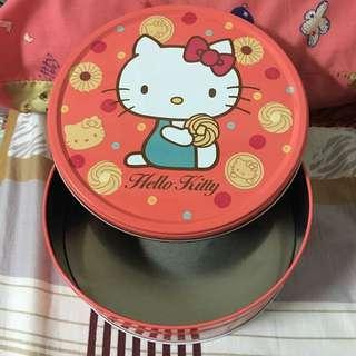 Hello Kitty 餅乾空盒 圓形 鐵盒