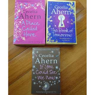 3 books by Cecelia Ahern: A place called here, The book of tomorrow and If you could see me now