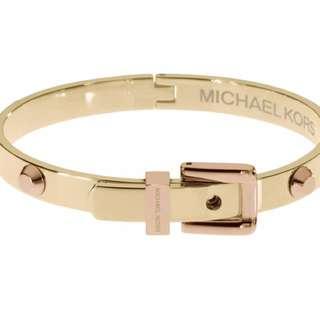 Michael Kors Buckle Gold And Rose Gold Tone Astor Buckle Bracelet