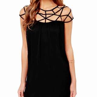 CAGED TOP SHIFT DRESS
