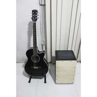 Brand New Acoustic Guitar w/ Cajon and Freebies