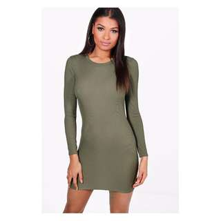 Long Sleeve Bodycon Dress Khaki Size 10