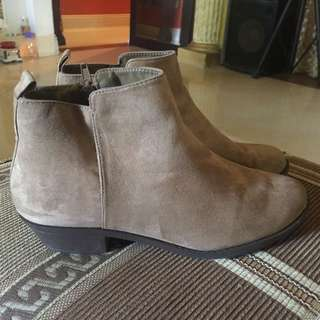 F21 Taupe/Light Brown Suede Ankle Boots