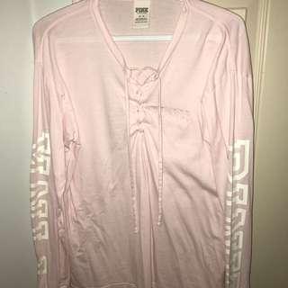 Victoria's Secret PINK Laceup Front Long Sleeve Size Medium