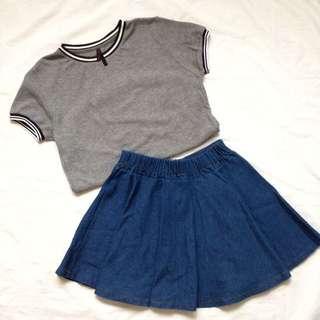 Top + Denim Skirt
