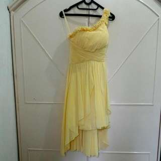 One Shoulder Yellow Bridesmaid Party Dress
