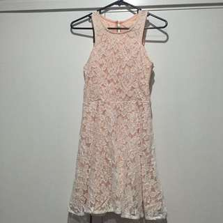 PINK FLORAL LACE SKATER DRESS SIZE SMALL