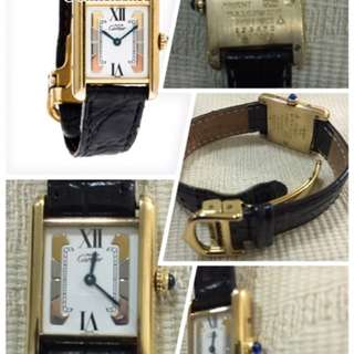 Authentic Preloved Cartier 18K Gold With  Tri Colour Ladies Tank Leather Watch