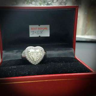 ladies ring with 3.68 carat heart shape....