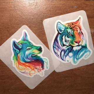 FREE Wolf And Tiger sticker