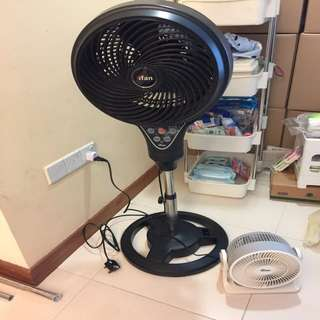 IFan - 2 Fans - Standing Fan With Remote Control And 1 Small Table Fan